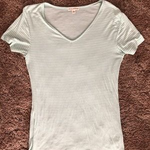 Mint green and white stripped v-neck T-shirt
